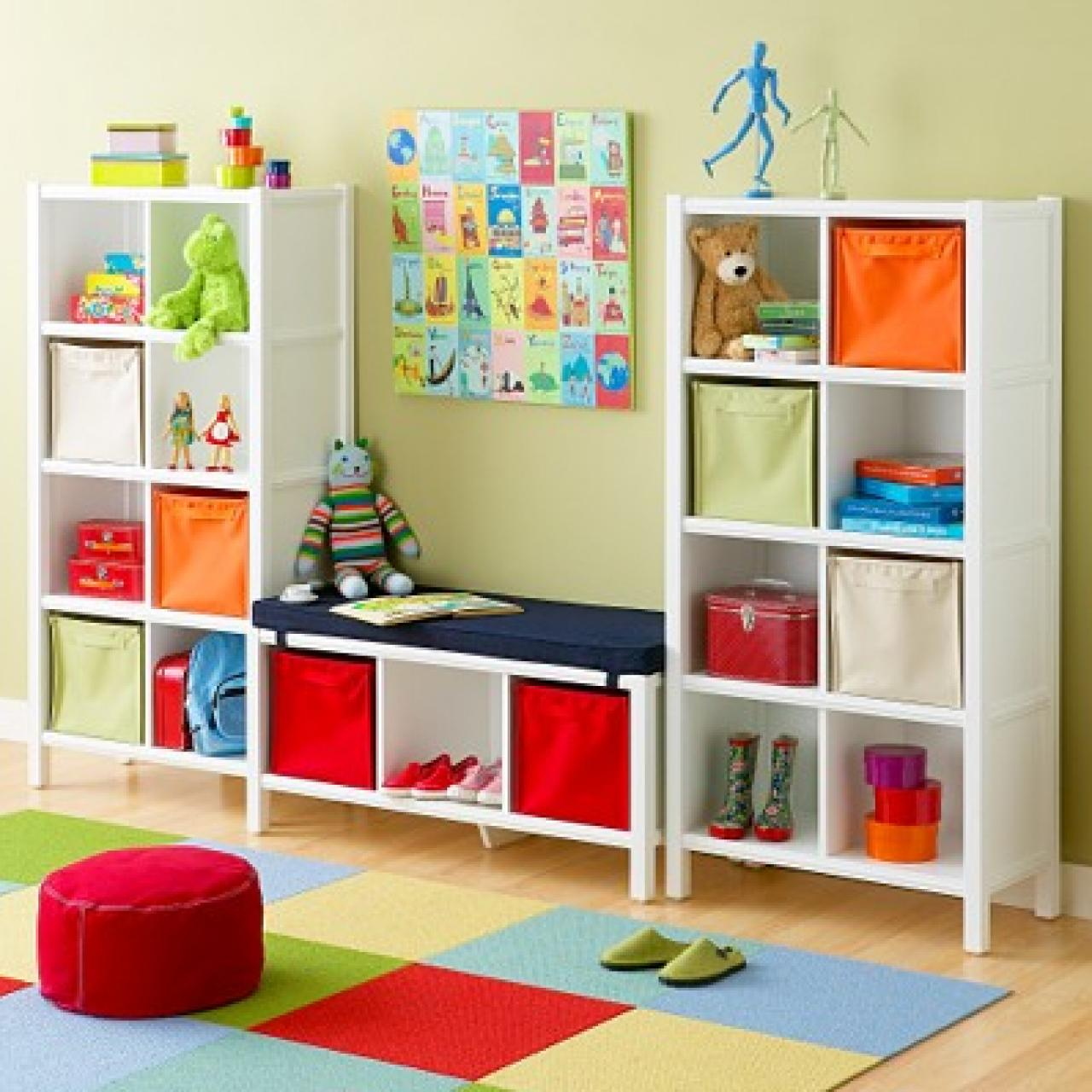 Colorful Kids Room Design: Kids Storage While Kids Clutter Is Often Colorful It Isn T