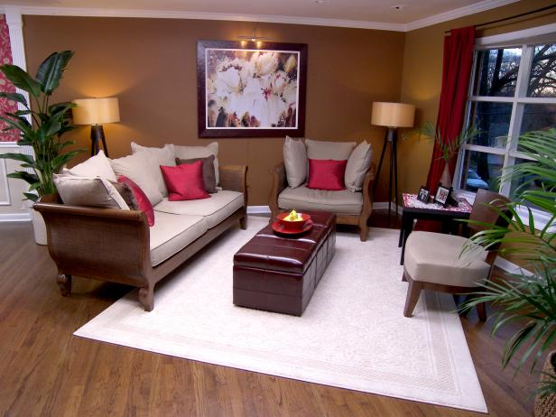 Neutral Feng Shui Designed Living Room with Red Pillows
