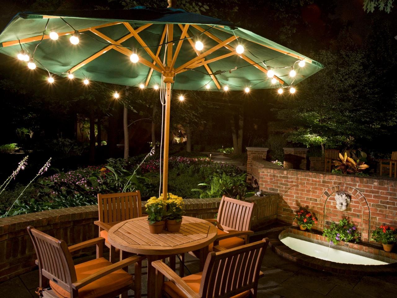 Exceptional Under An Umbrella. Inexpensive Party Lights Give Patio ...