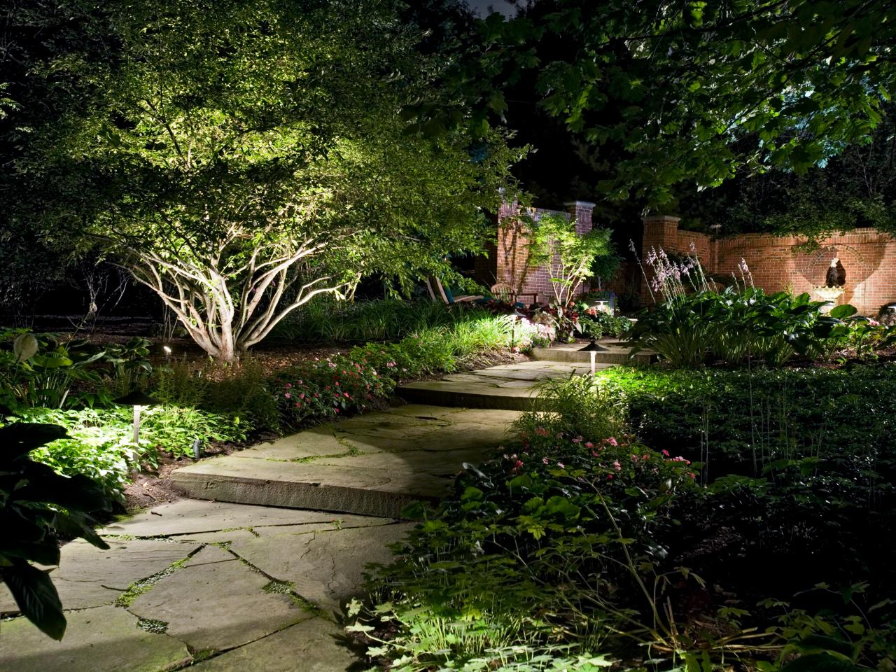 How to illuminate your yard with landscape lighting hgtv for Outdoor landscape design