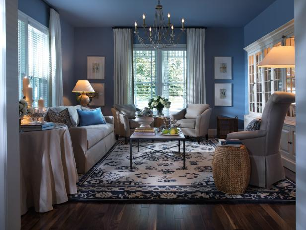 This sophisticated formal seating area is softened by calming blue walls and traditional accents.