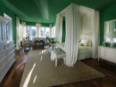 Formal Master Bedroom With Nature Inspired Green Walls