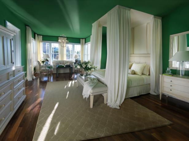 Formal Master Bedroom With Faux Canopy Bed and Green Walls