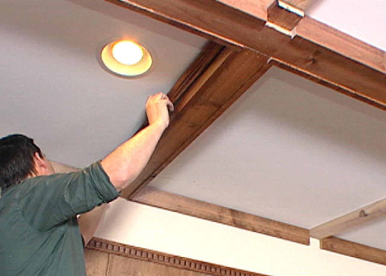 How to create a coffered ceiling hgtv for How to build a box beam