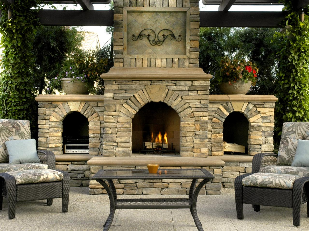 Luxurious design for outdoor rooms hgtv for Outdoor patio fireplace ideas