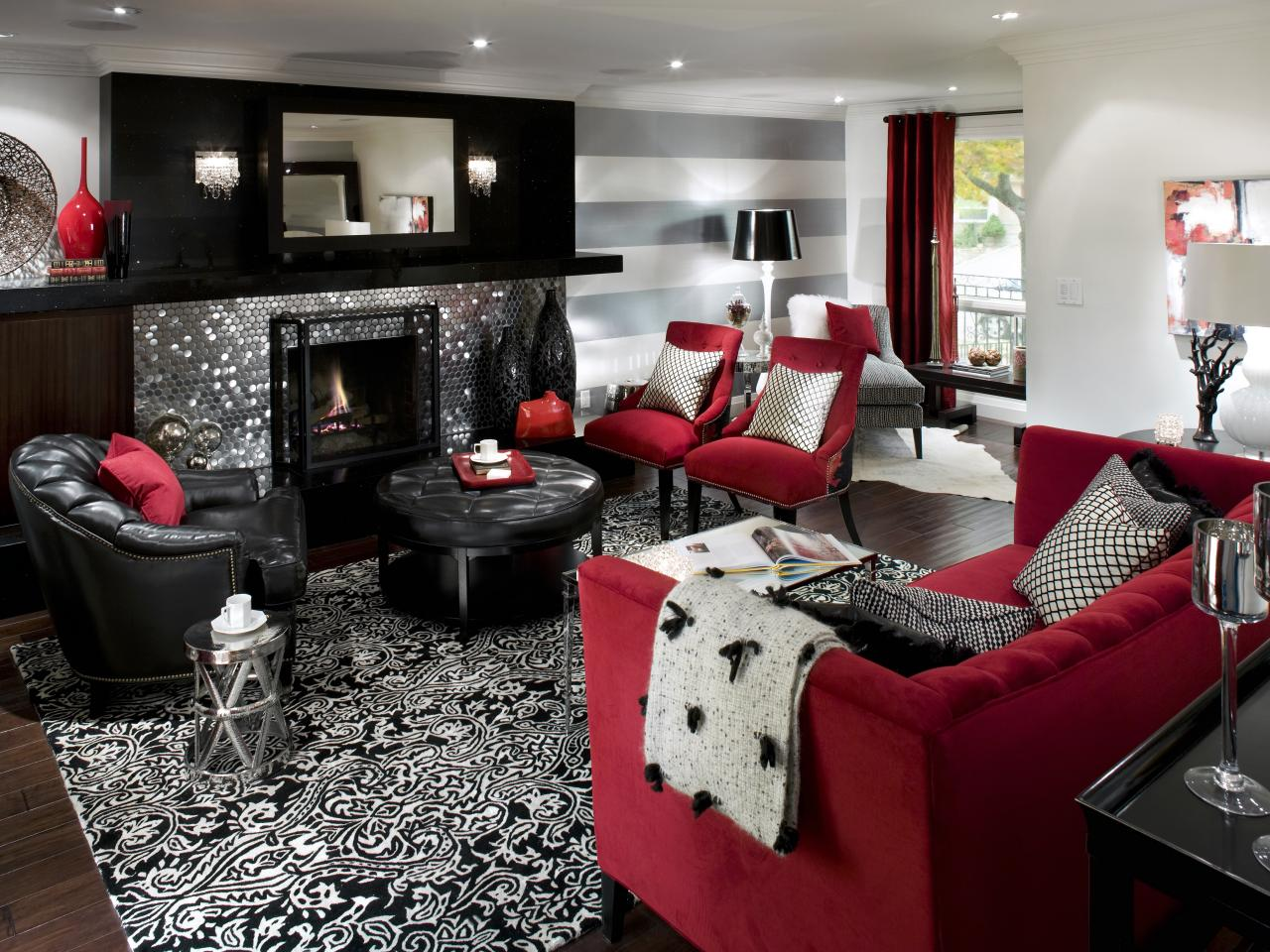 Retro red black and white family room hgtv - Black accessories for living room ...