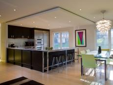 Black Open Plan Modern Kitchen and Dining Room