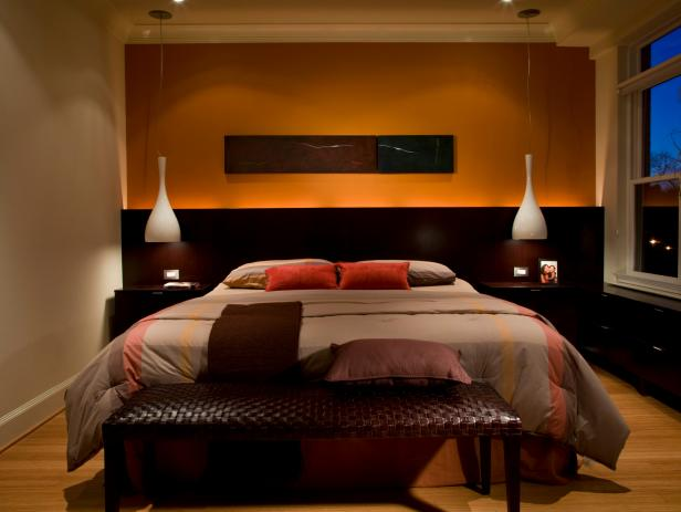 Orange and Chocolate Brown Bedroom With Modern Accents