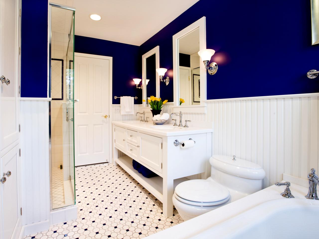 Foolproof Bathroom Color Combos HGTV - Navy blue bathroom accessories for small bathroom ideas