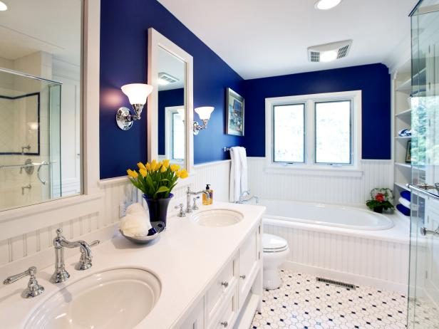 elegant white and blue master bathroom