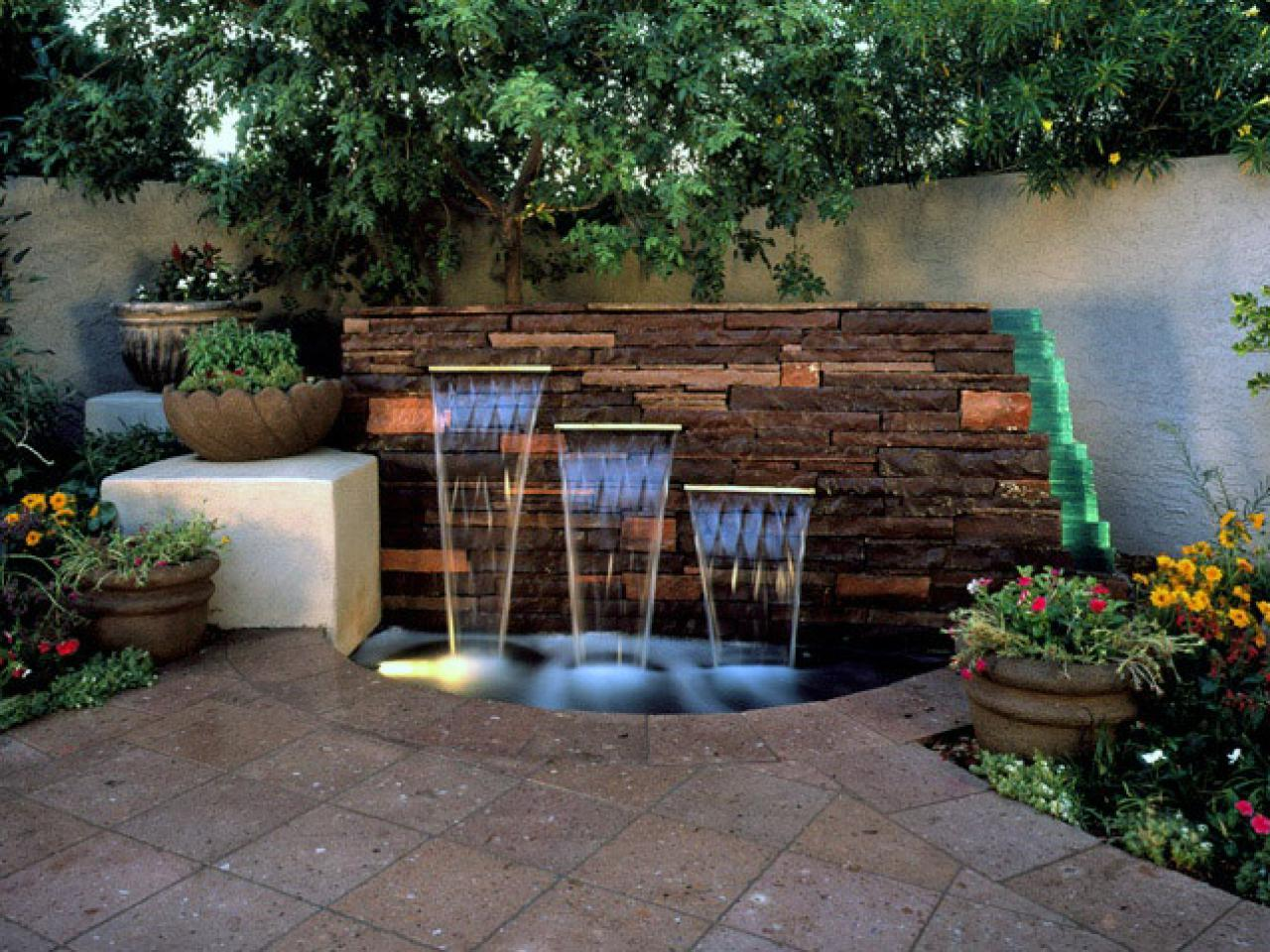 backyard with Wall Garden Fountains Water Features