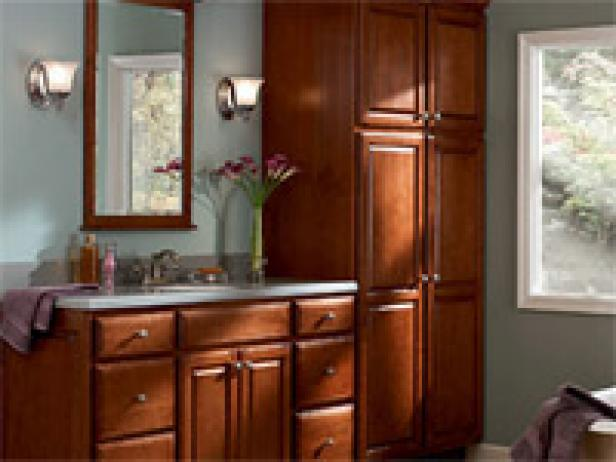 Built In Bathroom Bathrk 1 Maple Bathroom Cabinets In Chestnut Finish