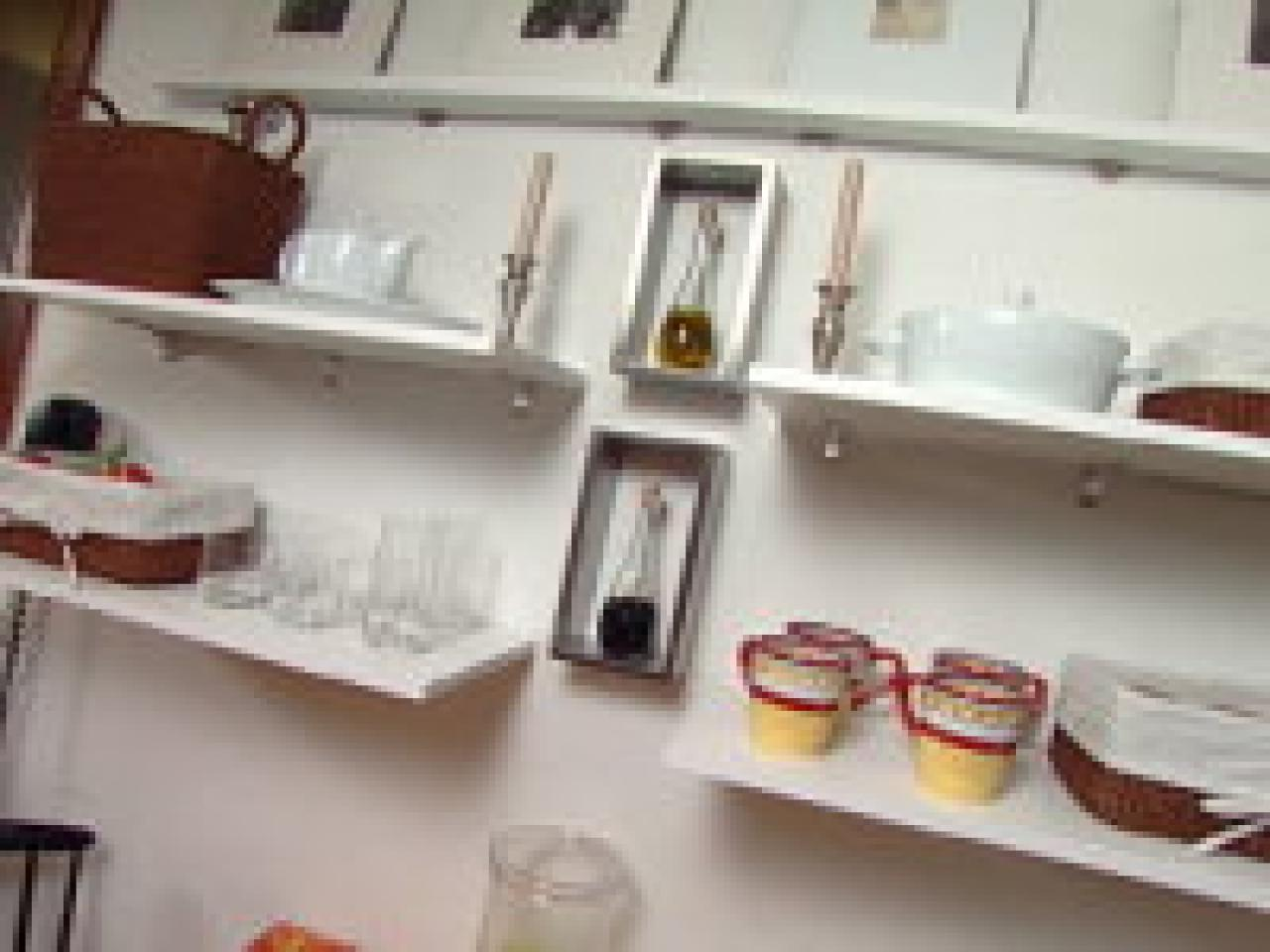 Clever kitchen ideas open shelves hgtv for Open shelves in kitchen ideas