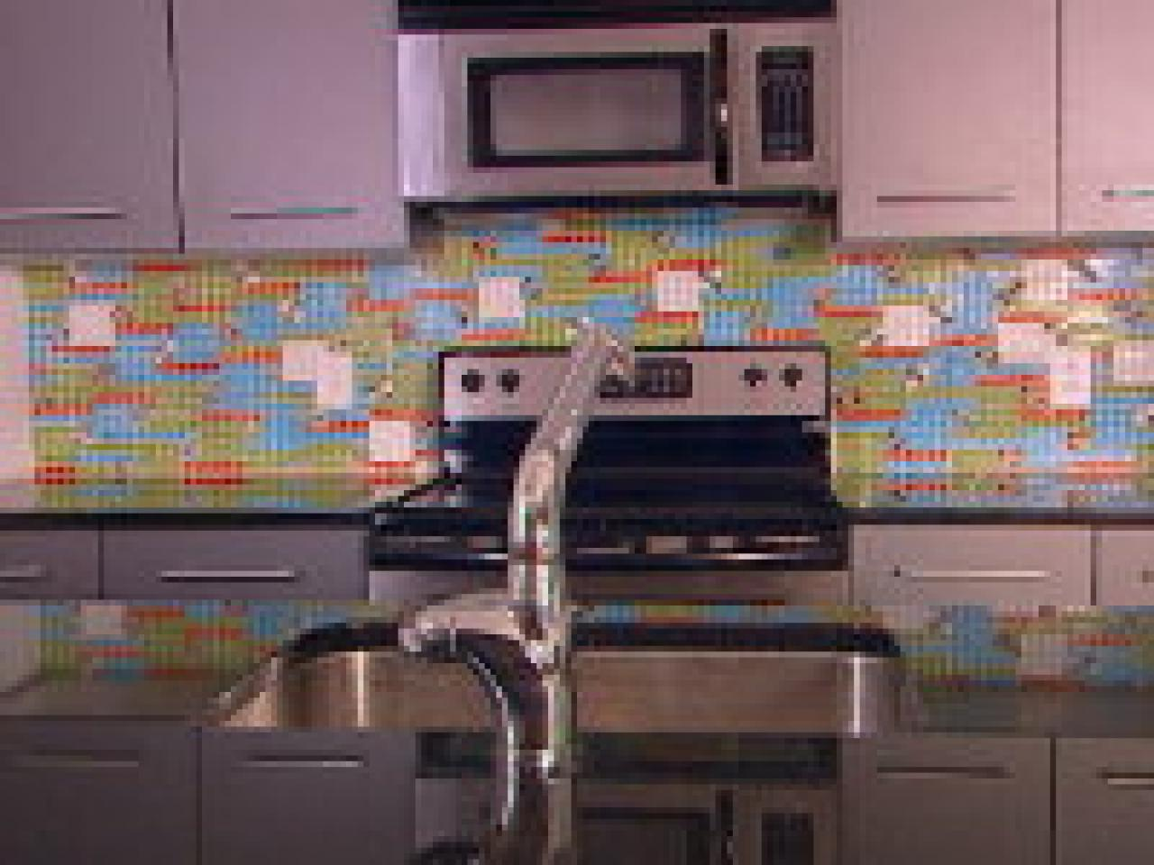 how to create a colorful glass tile backsplash | hgtv