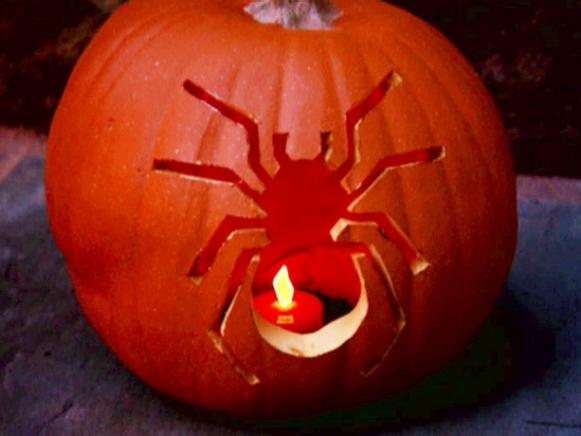 Carved Pumpkin With Spider Design