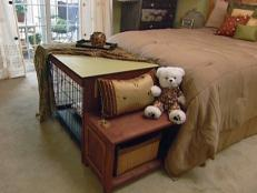 Wood Dog Crate Cover and Bench