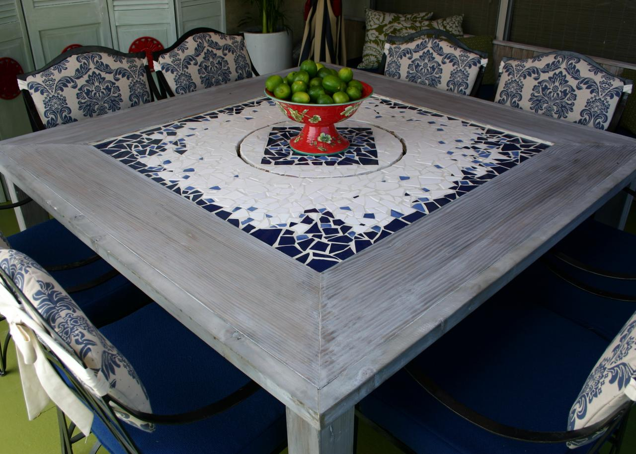 Mosaic dining table with built in lazy susan hgtv Table making ideas