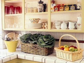 Yellow Cottage Kitchen Open Shelves
