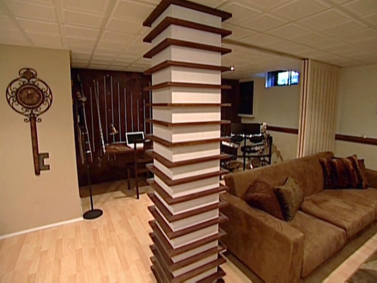 Wood column wrapped with shelves hgtv Interior columns design ideas