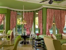 Bright Green and Pink Open-Concept Great Room