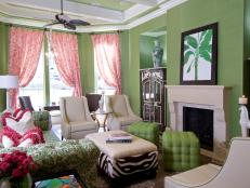 Pink and Green Living Room