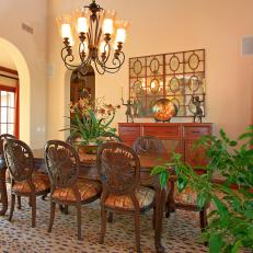 Traditional Dining Room With Exotic Accents