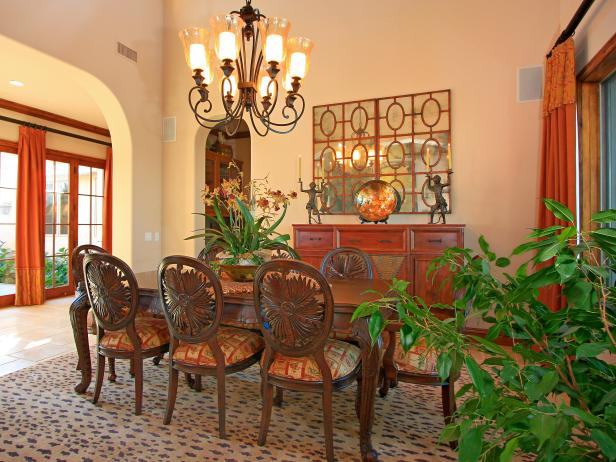 Traditional Dining Room With Leopard Print Area Rug