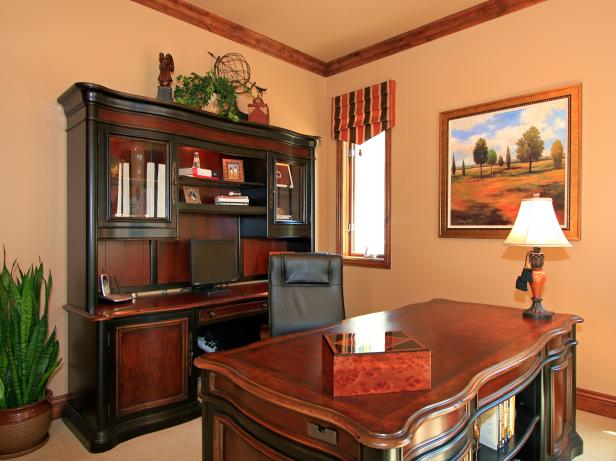 Home Office With Large Desk and Bookcase