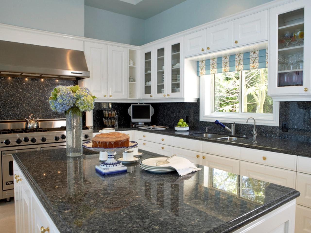 Granite countertop colors hgtv - White kitchen dark counters ...