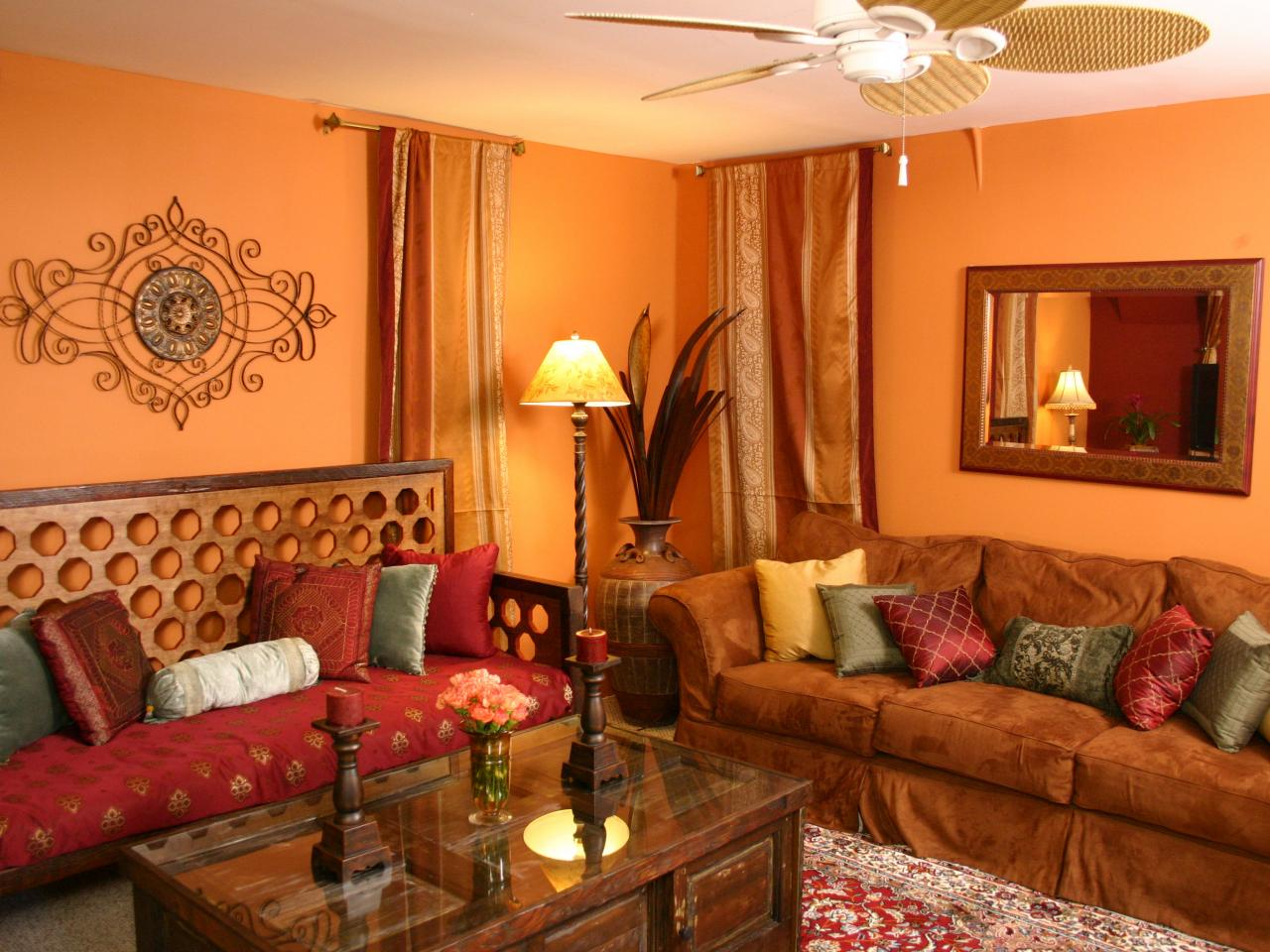 Photo page hgtv Orange and red living room design