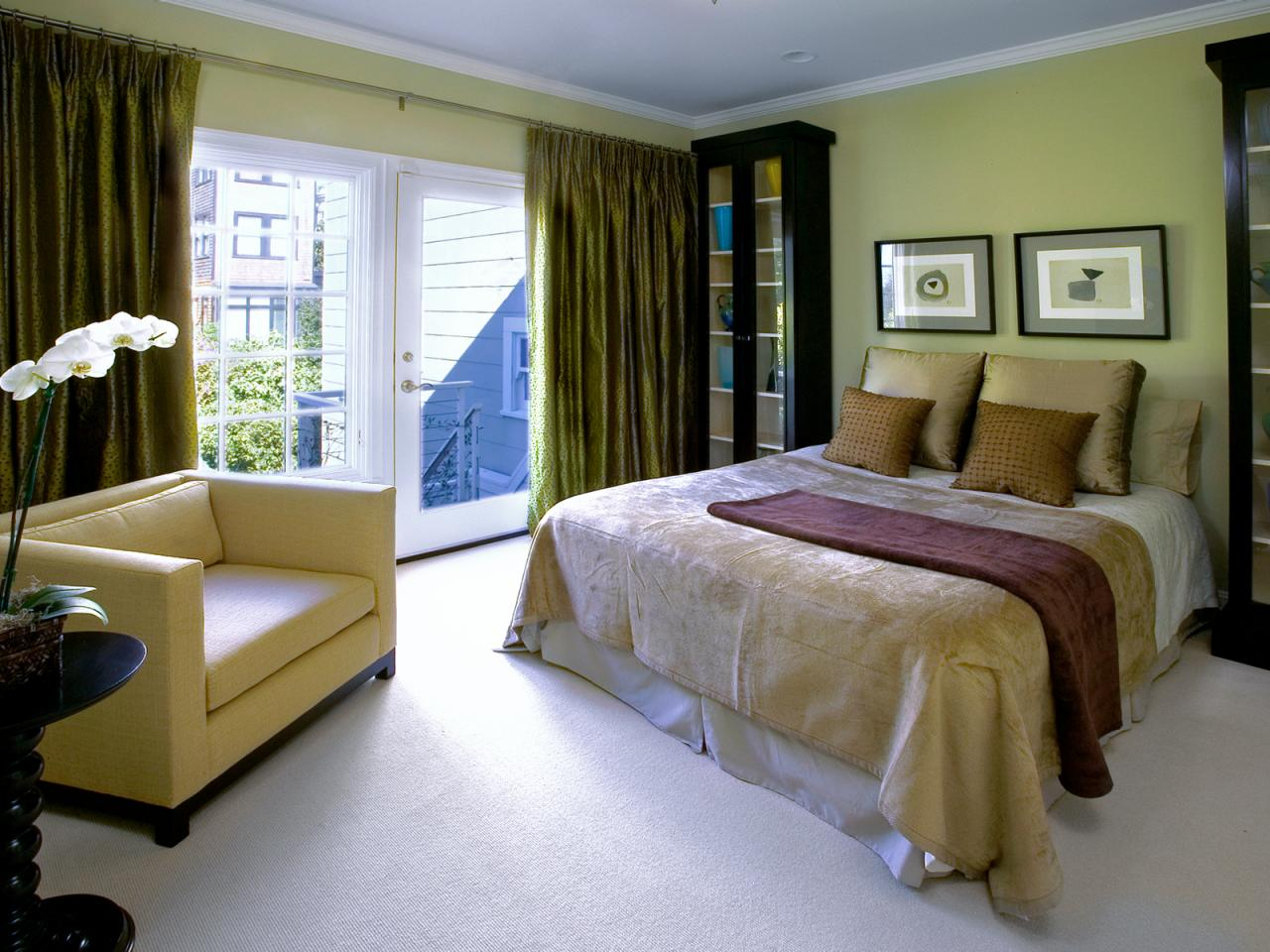 Photos hgtv - Brown and green bedroom ...