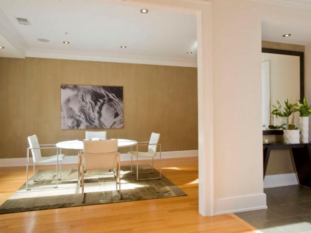Dining Room With Gray Wall Art, Modern White Dining Table and Chairs