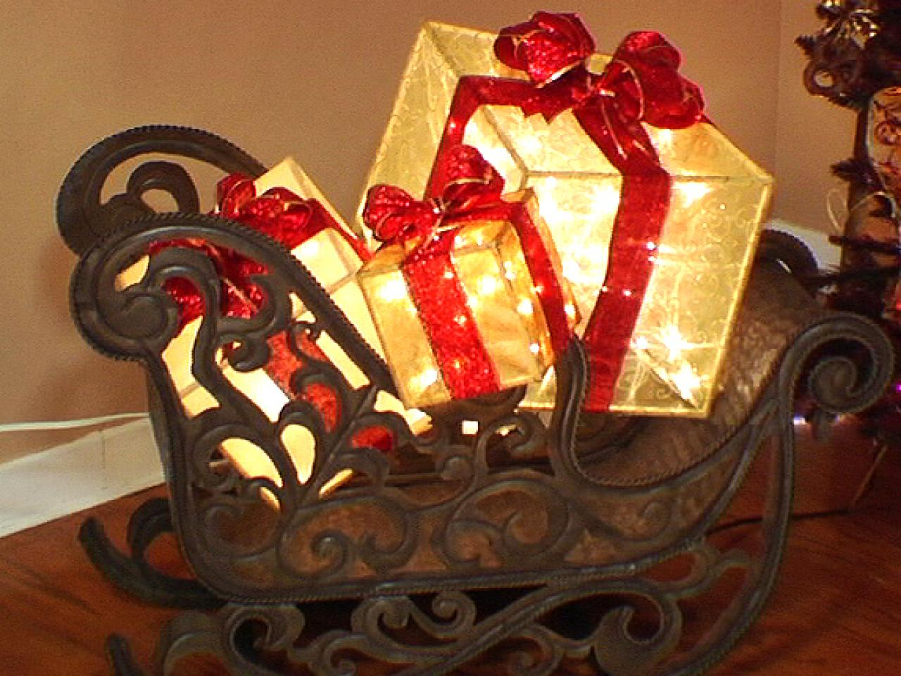 Lighted christmas gift boxes yard decor - Holiday Gift Boxes On Sled