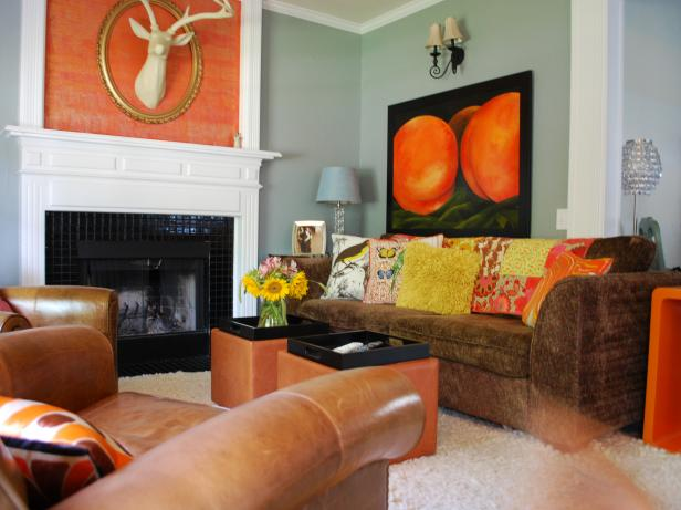 Decorating with warm rich colors hgtv - Living room colours to go with grey ...