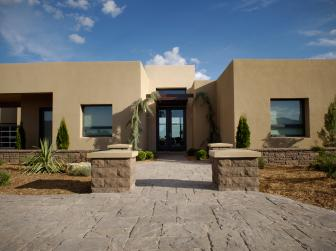 Southwestern Home With Front Yard Landscape and Hardscape