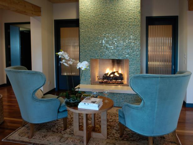 Sitting Area With Turquoise Wingback Chairs & Turquoise Tile Fireplace