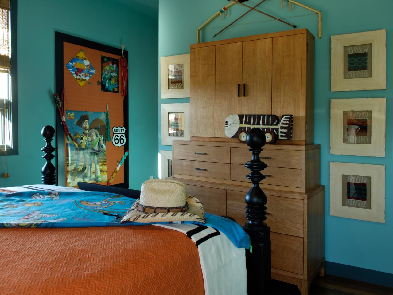toy story bedroom a smocked orange coverlet is used to cover a memo