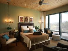 Sage Green Master Bedroom With Beautiful View