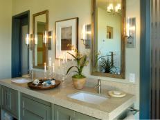 Master Bathroom Vanity With Blue Accents