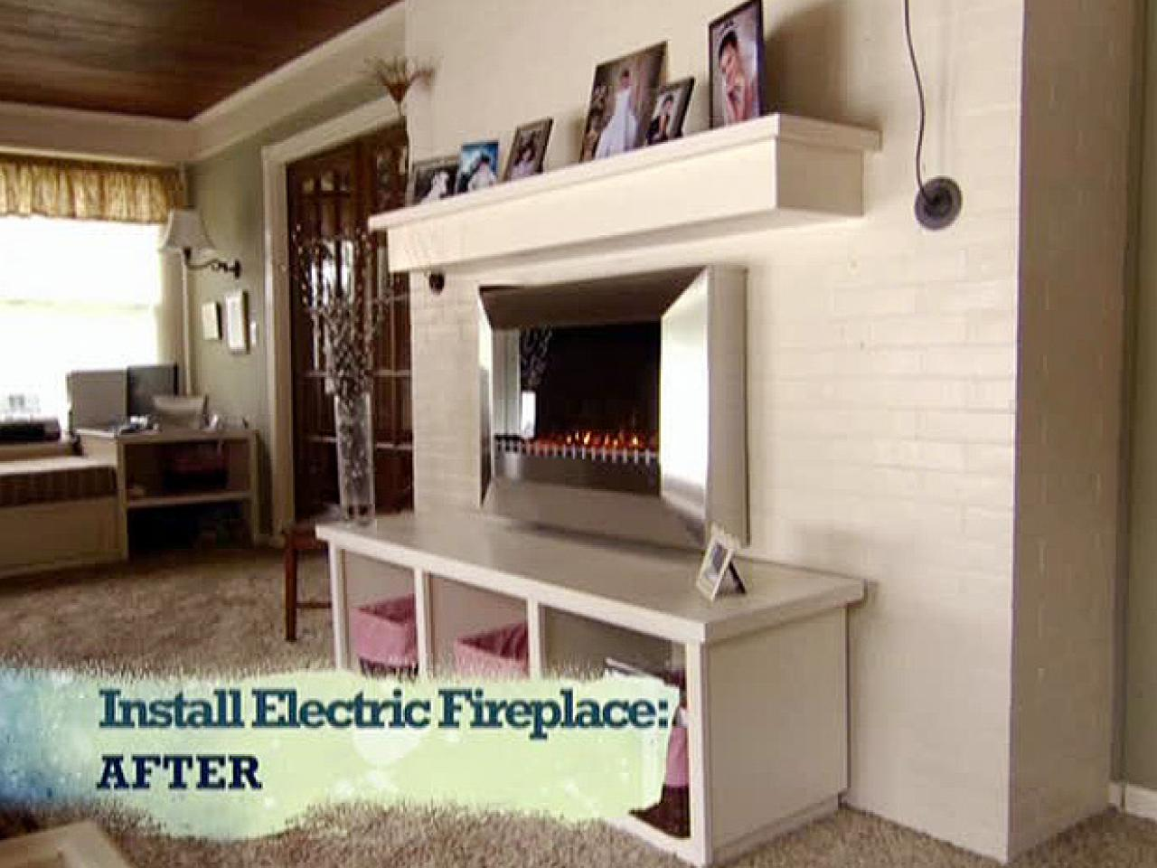 install an electric fireplace with custom built mantel and hearth