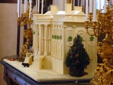 Gingerbread White House Modeled in White Chocolate