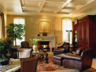 Classic Living Room With Coffered Ceiling