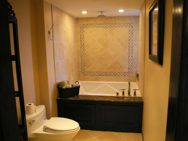 Traditional Bathroom With Neutral Tile and Black Accents