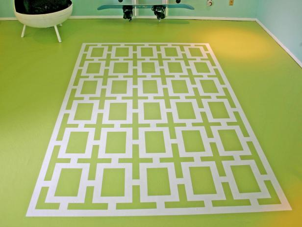 Faux Painted Rug With Large-Scale Geometric Pattern