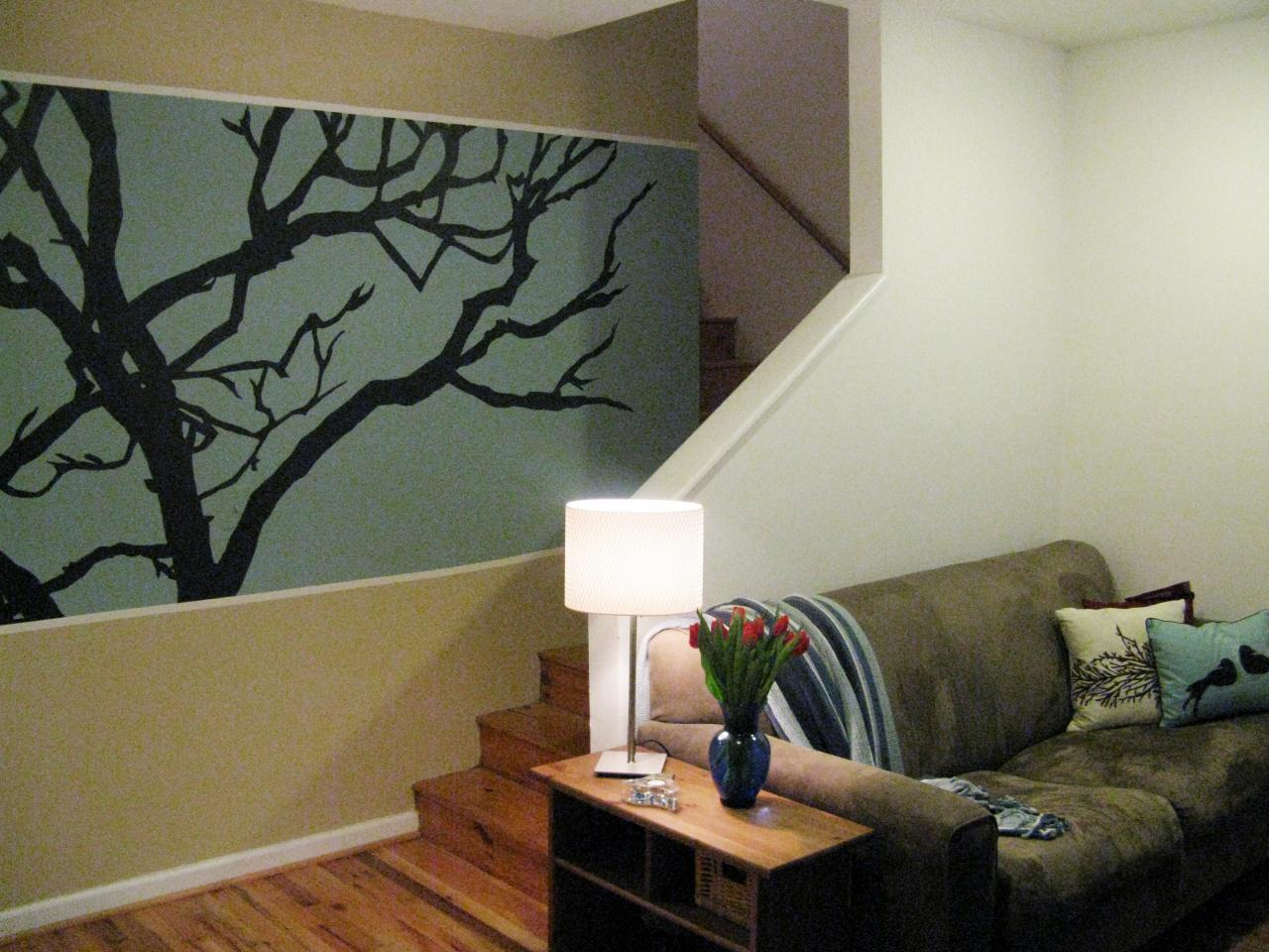 100 half day designs treetop wall mural hgtv for Best projector for mural painting