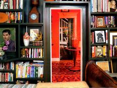 Black Floor-to-Ceiling Bookshelves