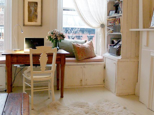 Home Office With Bookshelf and Window Seat