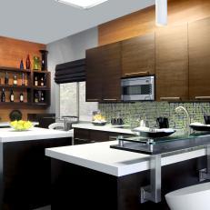Sleek Cabinets in Contemporary Brown Kitchen