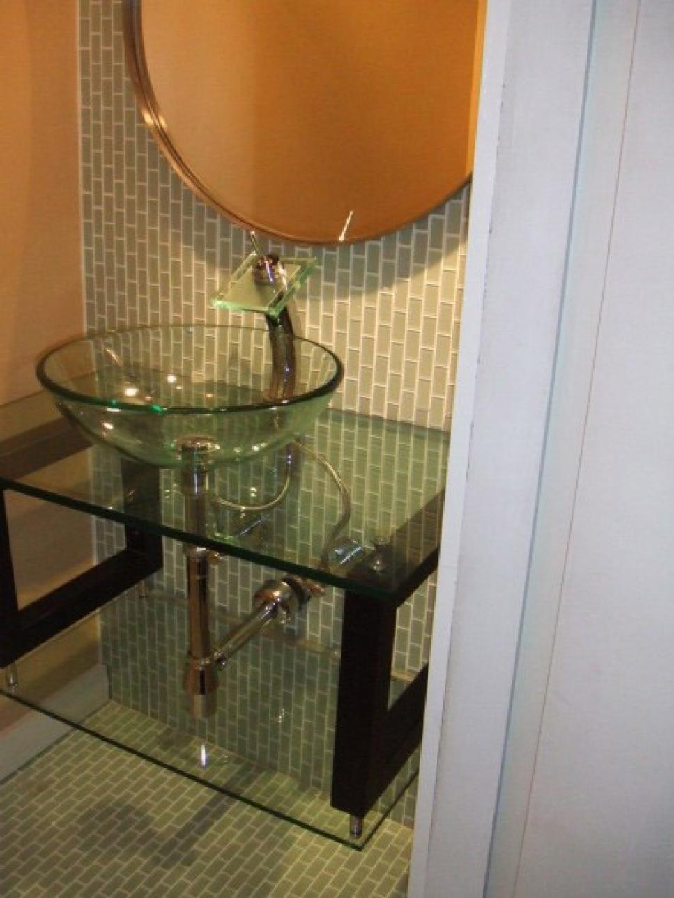 Make a statement in your powder room hgtv for Powder room vanities for small spaces