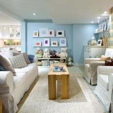 Blue Family Room With Slipcovered Furniture